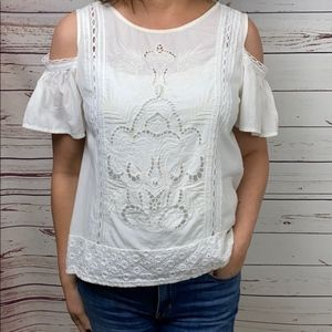 Zara Basic White Embroidered Cold Shoulder Top